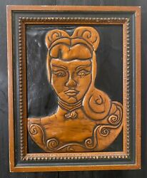 Antique / Vintage Copper Relief Artwork - Beautiful Asian Or Latina Woman