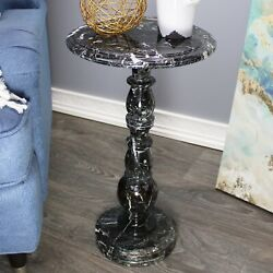 Natural Geo Black Marble Round End Accent Table