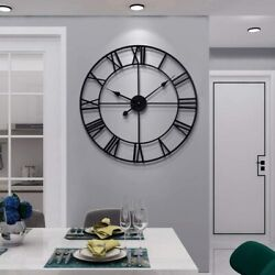 Large Modern Metal Wall Clocks Rustic Round Silent Non Ticking Battery Operated