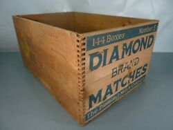 Vtg Diamond Brand Matches 24 X 16 X 12 Dove Tailed Wood Shipping Crate Box