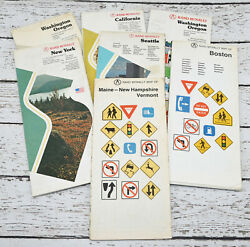 Vintage Collection Lot-7 Rand Mcnally Maps Ca Ny Wa Or Boston Maine Vermont