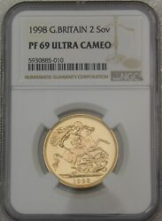 1998 Great Britain Gold 2 Sovereign Ngc Pf69 Ultra Cameo Just Graded Pq Gc984