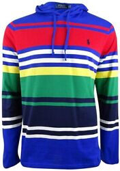 Polo Menand039s Multi-striped Hooded T-shirt Red Multi Hoodie Top L Xl