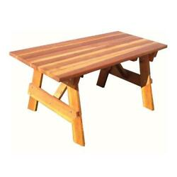 Best Redwood 72 Solid Wood Square Corner Picnic Table In Natural