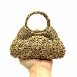 Womens Crystal Clutches Bags Gold Metallic Diamond Party Cocktail Purse Handbags $92.66