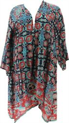 Tolani Collection Petite 3/4-slv Printed Duster Navy Turq Multi P1x New A353084