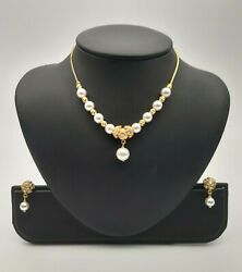 22k Yellow Gold Crystal Pearl And Cluster Cz Chain Necklace And Earrings