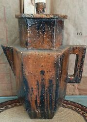 Exremely Rare Roland Ginzel Painter Wood Wall Mantle Vessel Teapot Art