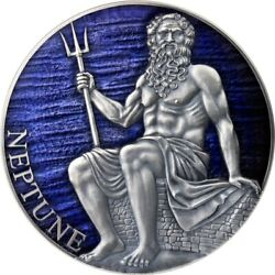 Neptune - Planets And Gods - 2021 3000 Francs 3 Oz Pure Silver Coin Cameroon