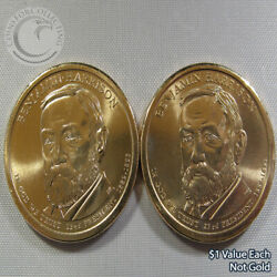 2012 Pandd Benjamin Harrison 1 Presidential Dollar Out Of Mint Rolls - 2 Coins