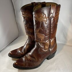 Texas Brand Vintage Mens Cowboy Boots 10 D Brown Leather Western Inlay M 45