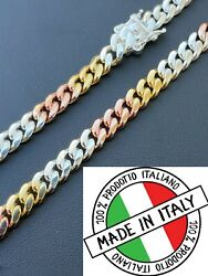 Tri Color Solid 925 Silver And 14k Gold Miami Cuban Link Necklace Chain Bracelet