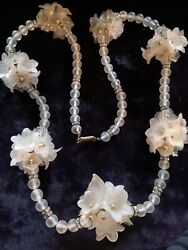 Vintage Necklace Lucite Floral Beaded Most Attractive 1950s