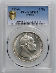 Prussia 1 Thaler 1855, Pcgs Ms62 King Frederick William Iv 1840 -1861