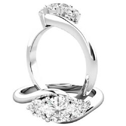 0.56 Ct Round Certified Moissanite Wedding Ring 14k Solid White Gold Size 6 7.5