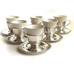 6 Prelude International Sterling Silver Demitasse Cup Holders Saucers W Liners