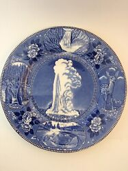 Staffordshire Ware Yellowstone National Park Old Faithful Geyser Plate Blue 10andrdquo