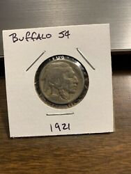 1921 Buffalo Nickel. Nice Coin With Sharp Details. Tough Date To Find.