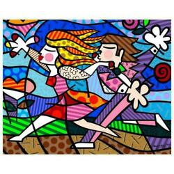 Romero Britto New Love Blossoms Hand Signed Giclee On