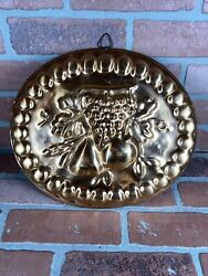 Vintage French Country Oval Fruit Copper Lady Finger Cake Jello Mold 12.5 X11