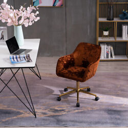 22.8 Adjustable Height 360 Revolving Office Chair With Gold Metal Legs Brown