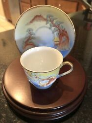 Moorage On Porcelain Cup And Saucer With Wooden Stand