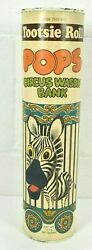 Tootsie Roll Pops 1970s Circus Wagon Zebra Advertising Toy Can Coin Bank Cool