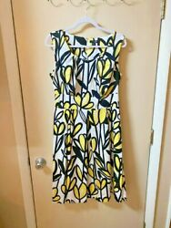 East 5th Dress Spring Yellow Black White Floral Empire Waist Size 12