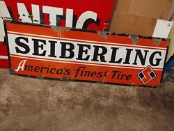 Seiberling Original Porcelain Gas Oil Tire Sign 72