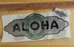 Aloha Vintage Travel Trailer Repro Decal Early 54-59 Silver Green Black 12
