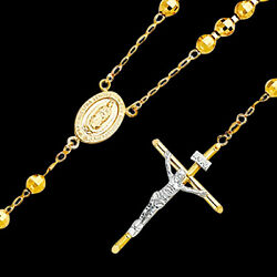 Mens Womens 14k Yellow Gold Beaded Ball Rosary Necklace 6mm 26