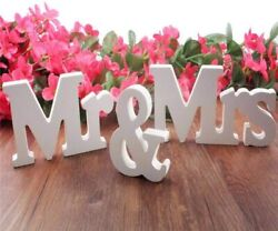 Mr And Mrs Sign 3d White Wooden Letters Decoration For Party Wedding Table Props
