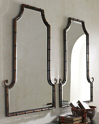 Pair Horchow Asian Chippendale Bamboo Black/gold Arched Pagoda Mirror Vanity 42