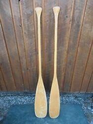 Vintage Set Of Wooden Boat Oars 54 Long Paddles Great Patina