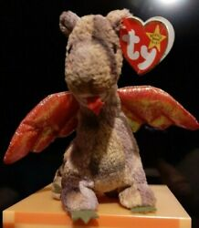 Ultra Rarescorch The Dragon Ty Beanie Baby 1998 Retired Red Iridescent Wings