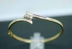 Vintage Art Deco Antique Jewelry Solid Gold Bangle Natural Diamonds Jewellery