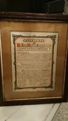 Medi 1895 A Welsh Language Certificate Of Thanks For Church Service Framed