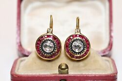 Vintage 22k Gold Natural Rose Cut Diamond And Caliber Ruby Decorated Earring
