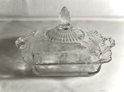 Cambridge Crystal Rose Point Honey Dish With Lid Rare 3500/139
