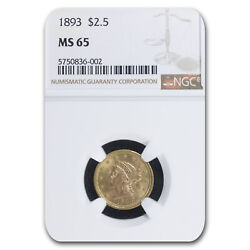 1893 2.50 Liberty Gold Quarter Eagle Ms-65 Ngc - Sku160004
