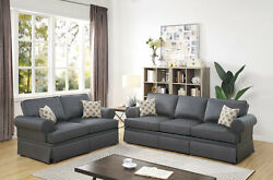 Sofa And Loveseat Charcoal Polyfiber 2pc Set Home Furniture Back Support Seating