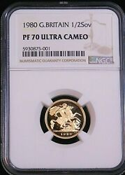 1980 Great Britain Gold 1/2 Sovereign Ngc Pf70 Ultra Cameo Just Graded, Pq D1