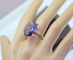 Vintage Art Deco Jewelry Gold Ring 15carat Natural Amethyst Antique Jewellery