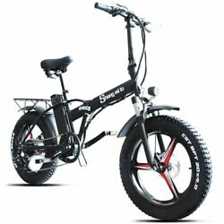 Adult Electrict Bike Folding Portable Fat Tire Beach Ebike Battery Snow Bicycles