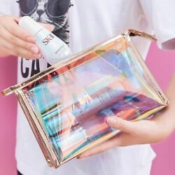 Holographic Makeup Bag Travel Cosmetic Clear Iridescent Pouch Organizer Toiletry $14.90