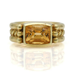 Doris Panos Citrine Retro Cable Ring In 18k Yellow Gold Size 6