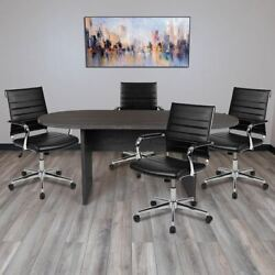 5pc Rustic Gray Oval Conference Table Set W/4 Black Leathersoft Ribbed Executive