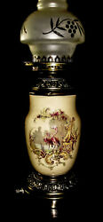 Vintage Old Fashioned Table Lamp With Glass Hurricane Chimney Shade