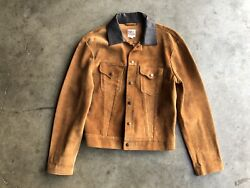 Levi's Vintage Clothing Lvc Suede Leather Trucker Jacket Sz Small Brown Italy