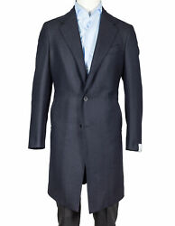 Caruso Coat In Dark Blue With Fischgratmuster From Cashmere/wool Regeur1690